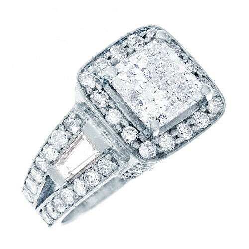 GIA Certified Diamond Engagement Ring 2.78 Ct Princess, Round and Baguette 18k 1