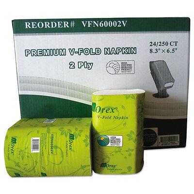 GEN Premium V-Fold Pop-Up Dispenser Napkin Sugarcane Pulp 6.5x8.3 250/Pk 24Pk