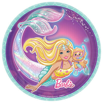 Barbie Party Plates (BARBIE Mermaid SMALL PAPER PLATES (8) ~ Birthday Party Supplies Cake)