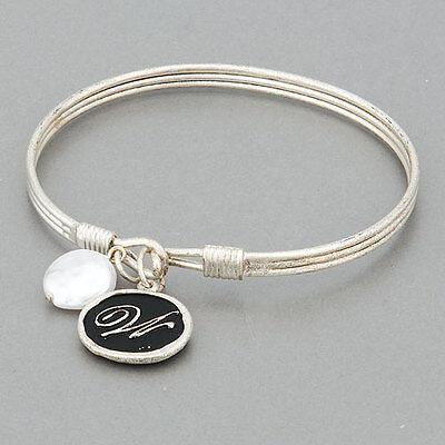 Simple Silver Initial W Charm Flat Pearl Design Bangle Bracelet