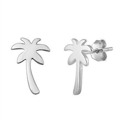 Palm Tree Stud Earrings Genuine Sterling Silver 925 Best Jewelry Height 13