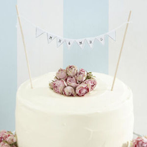 MR & MRS CAKE BUNTING  - vintage rustic  white wedding cake topper decoration