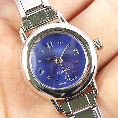 Round Navy Blue 9mm Italian Charm Bracelet Watch BA02