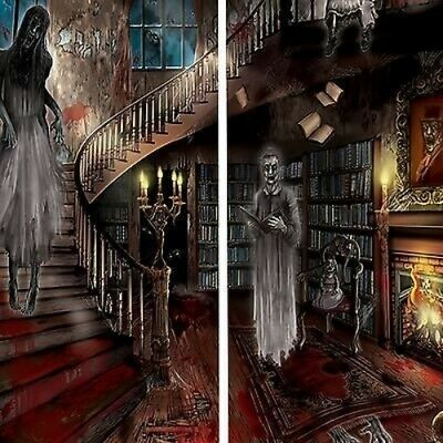 HAUNTED Hotel Motel wall scene Halloween decoration ghosts mansion