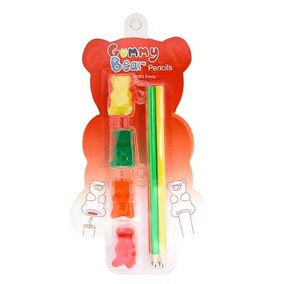 made by humans GUMMY BEAR Pencils And Eraser Set of 4 Colors (823)