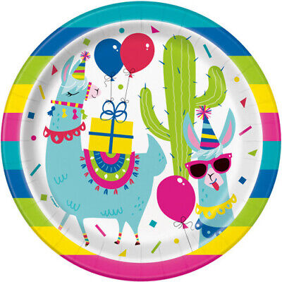 - LLAMA BIRTHDAY LARGE PAPER PLATES (8) ~ Party Supplies Cake Dessert Rainbow Cute