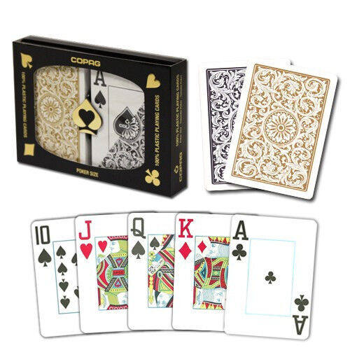 New COPAG 100% Plastic Playing Cards Black Gold Poker Size Jumbo Index FREE CUT