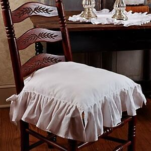 New French Country Shabby Chic WHITE RUFFLED CHAIR PAD Cushion Seat Cover