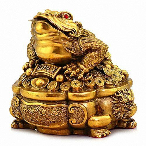 Large Size Brass Thriving Business Feng Shui Money Frog(Three Legged Wealth Frog