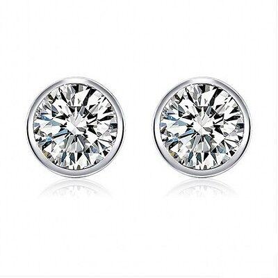 925 Sterling Silver Round Cut Cubic Zirconia Full Edged Bezel Set Stud Earrings Cubic Zirconia Bezel Set Earrings