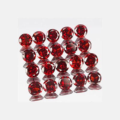 A PAIR OF 4mm ROUND-FACET DEEP-RED NATURAL MOZAMBIQUE GARNET GEMSTONES