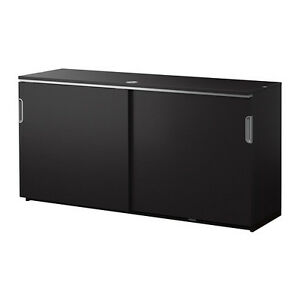 IKEA GALANT Cabinet with sliding doors, black-brown