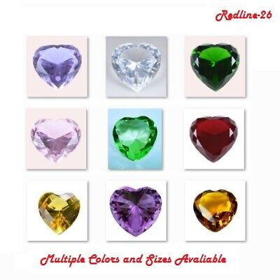 Heart Crystal Diamond Paperweight Decor ( Multiple Color & Sizes ) US Seller