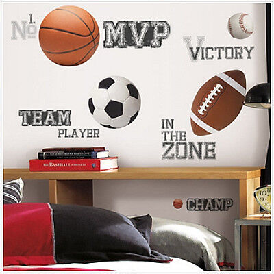 Star Sayings (All Star SPORTS SAYINGS and balls wall stickers 24 decals soccer football)