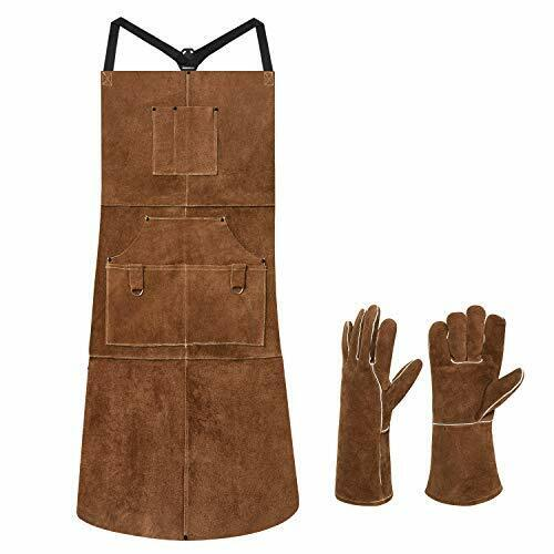 """Length 42"""" 6 Pockets Leather Welding Apron & Welding Gloves Cowhide Brown"""