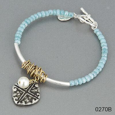 Silver Light Blue Seed Beaded Pearl Cross Charms Statement Bracelet Seed Bead Crosses Bracelet
