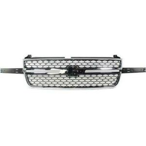 2003-2007 Chevrolet Silverado Grille Chrome Frame With Black Honeycomb With Dale Center Bar Require Wing Inserts