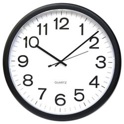 Round Wall Clock, 13.5 Overall Diameter, Black Case, 1 AA (sold separately)