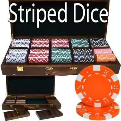 500 Striped Dice Poker Chip (500ct. Striped Dice 11.5kg Poker Chip Set in Walnut Wood Carry)