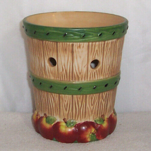yankee candle autumn ceramic apple barrel wax tart warmer burner - used
