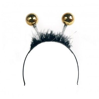 Deely Boppers Tiara with Gold Disco Balls and Black Feathers Adult One Size](Deely Boppers)