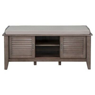 NEW Threshold Entryway Storage Bench with Slatted Doors - Gray -