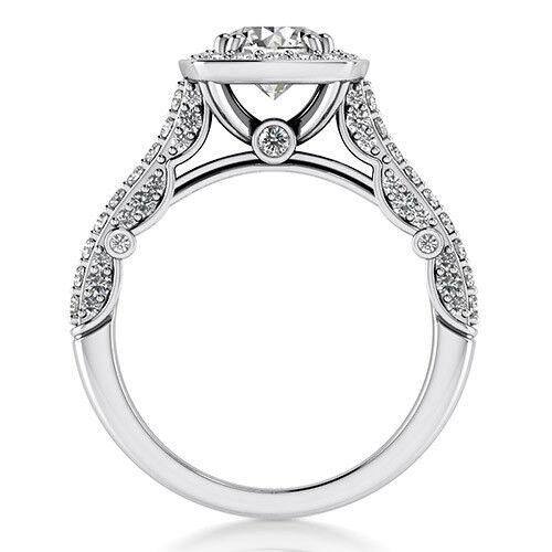 Halo 1.76 Carat SI1/F Round Cut Diamond Engagement Ring 14K White Gold