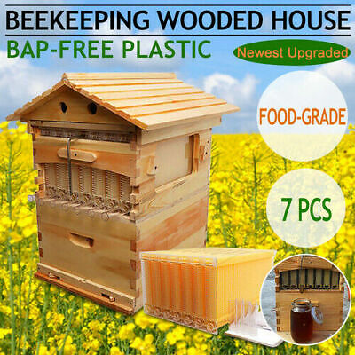 Us 7pcs Upgraded Auto Honey Hive Beehive Frames Beekeeping Brood Cedarwood Box