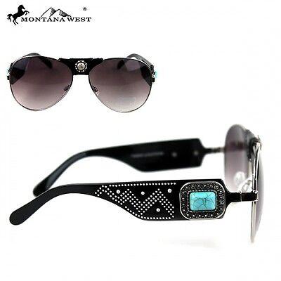 Black Framed Rhinestone Montana West Concho Aviator Style Sunglasses with Case