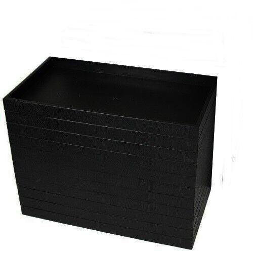"12 Black Plastic Stackable 14 3/4"" x 8 1/4"" x 1"" Utility Display Trays Organizer"