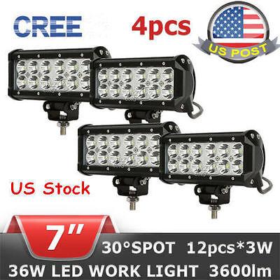 4X 7INCH 36W LED CREE WORK LIGHT BAR SPOT BEAM OFFROAD FLOOD LAMP TRUCK 4WD MG