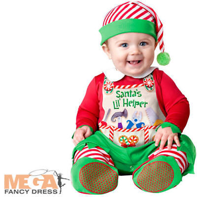 Santas Lil Helper 6-24 Months Baby Christmas Fancy Dress Elf Childs Costume - Santas Lil Helper Kostüm