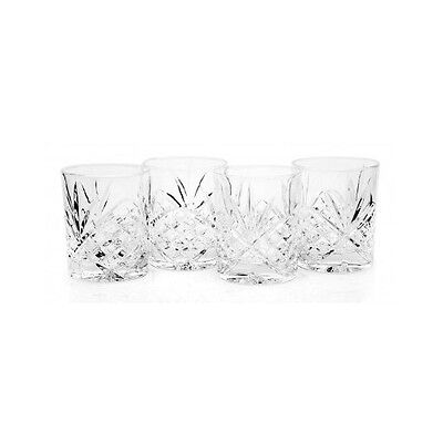 Dublin Crystal Glass Whiskey Cup Set of 4 Double Old Fashioned 8oz Bar Bourbon