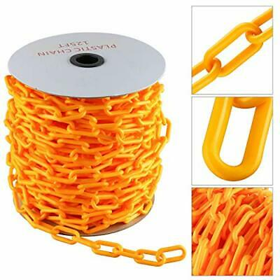 125 Ft Plastic Chain For Crowd Control Safety Barrier Yellow Durable