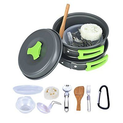 Camping Cookware Mess Kit Backpacking Gear & Hiking Outdoors Bug Out Bag Cook