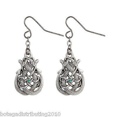 - Celtic Double Dragon Hook Earrings Silver Lead Free Pewter Green Stone 3/4