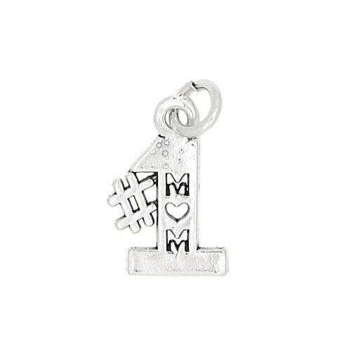 SILVER ONE SIDED #1 MOM CHARM OR PENDANT