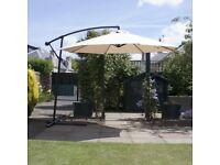 4m garden cantilever cream parasol