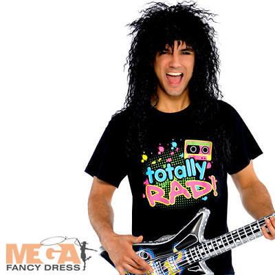 Totally Rad T-Shirt Mens Fancy Dress 80s 1980s Retro Rocker Costume Accessory - Retro Rocker Kostüm