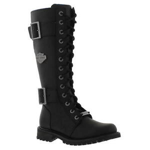 New-Harley-Davidson-Belhaven-Womens-Tall-Black-Leather-Biker-Boots-Size-UK-4-7-5