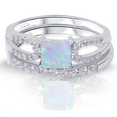Princess Cut Moon Fire Opal Engagement / Wedding Sterling Silver Two Ring -