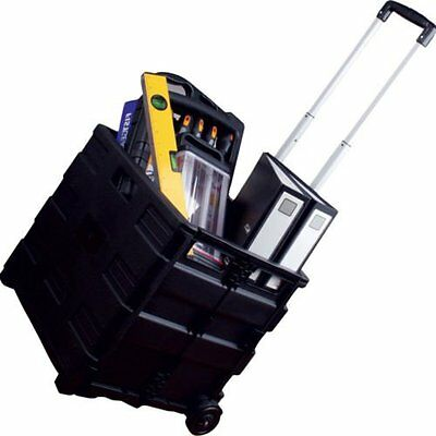 35KG Black Folding Boot Cart Shopping Trolley Storage Box Wheels Crate Foldable