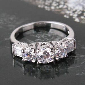 White Sapphire 18K White Gold fill Size 7-8 Diamond Look