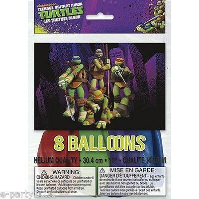 TEENAGE MUTANT NINJA TURTLES LATEX BALLOONS (8) ~ Birthday Party Supplies Decor