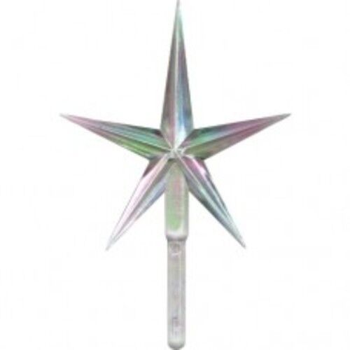 """Large Iridescent Clear  Aurora 4"""" Star  Vintage Ceramic Christmas Tree Topper"""