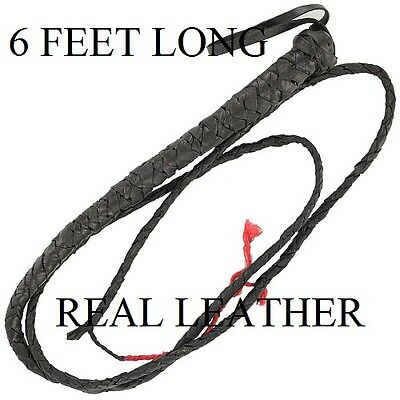 Brand New 6 Leather Bull Whip Horse Whip Cattle Whip Etc. Free Shipping