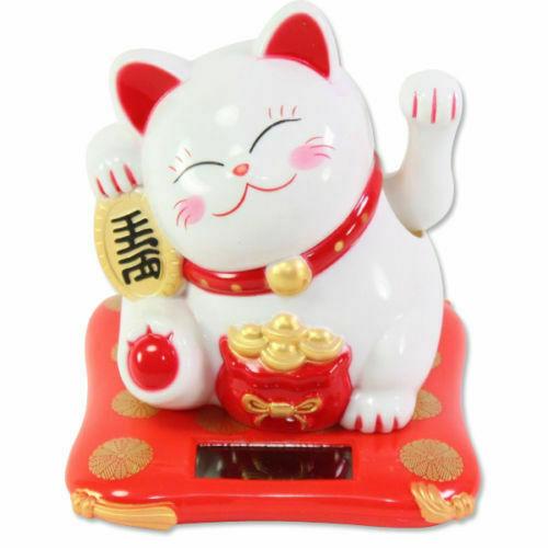 Solar Powered Lucky Cat White Beckoning Fortune Happy Maneki Neko 4 inches