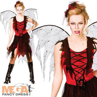 Goth Vamp Fairy Ladies Halloween Fancy Dress Womens Vampire Fairytale Costume
