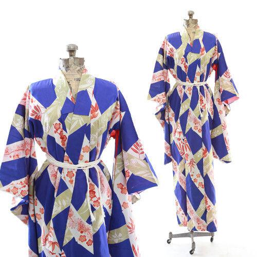 Vintage 40s floral blossom silk Japanese KIMONO wedding coat Jacket Robe