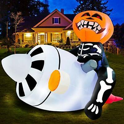 Halloween Inflatable Lighted Pumpkin Skeleton On Engine LED Blow Up Ghost Decor